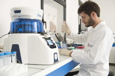 Picture showing the Precellys® & Cryolys Evolution tissue homogenizer equipment on the bench - Credit: T.Leaud