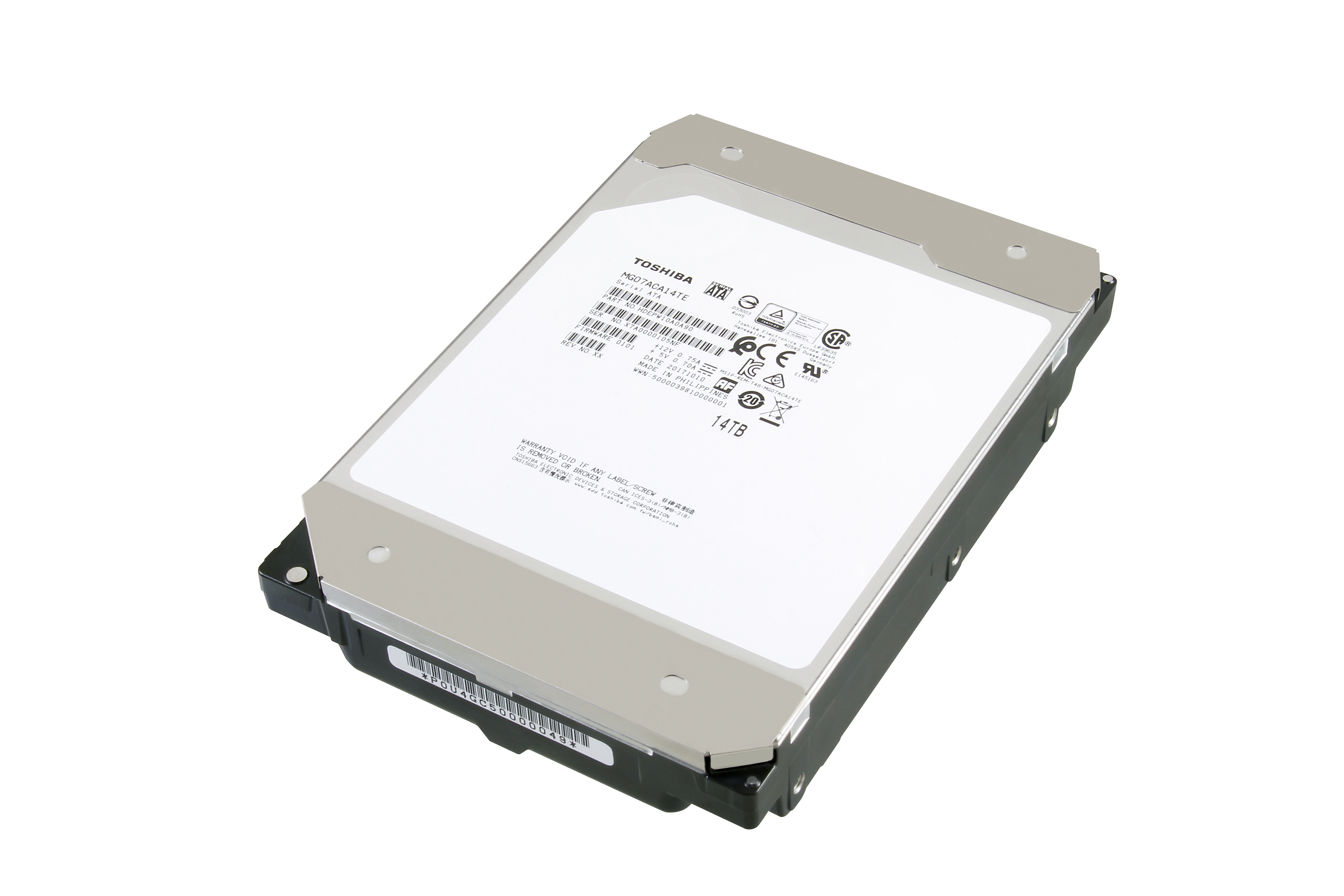 Toshiba Launches World's First 14TB HDD with Conventional Magnetic Recording