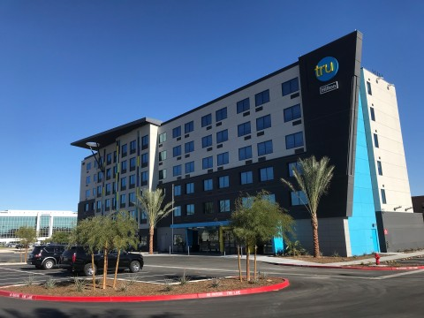 Tru by Hilton opens its newest property in Las Vegas. The new hotel is the brand's largest property  ...