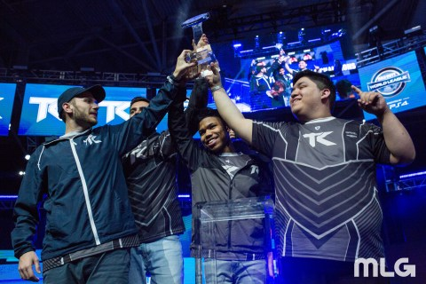 "Team Kaliber (left to right; Dylan ""Theory"" McGee, Lamar ""Accuracy"" Abedi, Kenny ""Kenny"" Kuavo and Martin ""Chino"" Chino) wins the CWL Dallas Open (Photo: Business Wire)"