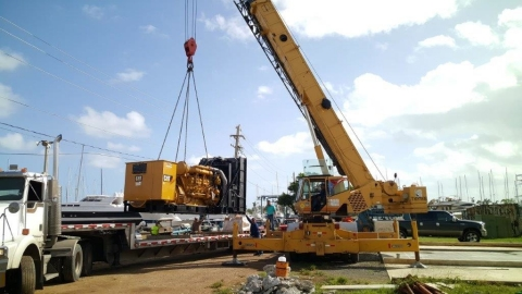 The new 1,500Kw Generator will make Puerto Del Rey the only marina offering its clients a stable power source. (Photo: Business Wire)