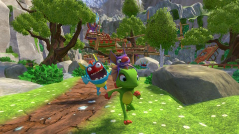 Explore huge, beautiful worlds, meet (and beat) an unforgettable cast of characters and horde a vault-load of shiny collectibles as buddy-duo Yooka (the green one) and Laylee (the wisecracking bat with the big nose). (Photo: Business Wire)