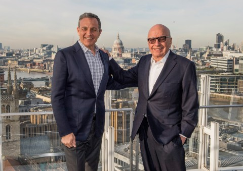 Left to right: Robert A. Iger, Chairman and CEO of The Walt Disney Company, and Rupert Murdoch, Exec ...