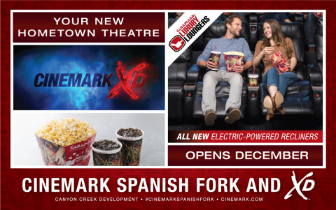 The new Cinemark Spanish Fork and XD theatre, located in the Canyon Creek Development at 595 East Commerce Way, features Luxury Lounger electric recliners, large wall-to-wall screens, enhanced sound systems, digital presentation and reserved seating in all auditoriums. (Photo: Business Wire)