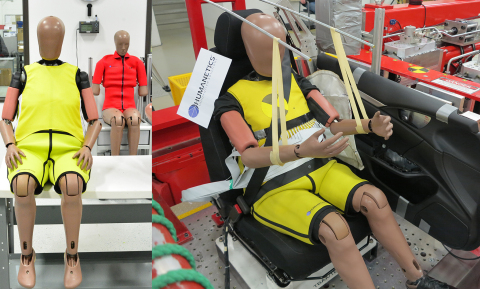 The elderly crash test dummy by Humanetics in a pre-test setup at Honda R&D. (Photo: Business Wire)