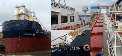 Photo collage of the Algoma Innovator from delivery at the shipyard. (Photo: Business Wire)