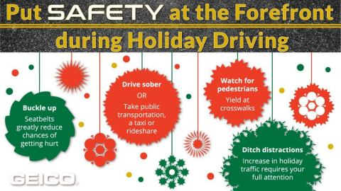 GEICO infographic with holiday safe driving reminders (Graphic: Business Wire)