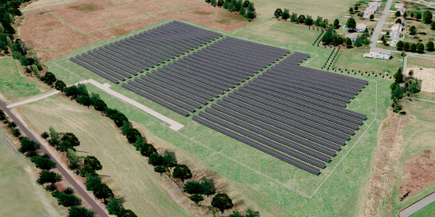 Artist's rendering depicts a 14-acre solar array being developed by WGL Energy and Susquehanna University that will supply 30 percent of the university's electricity and is expected to be completed by summer of 2018. It is WGL Energy's first solar project in Pennsylvania, the largest university-sponsored solar array in Pennsylvania, and one of the largest solar projects in the Commonwealth. (Graphic: Business Wire)
