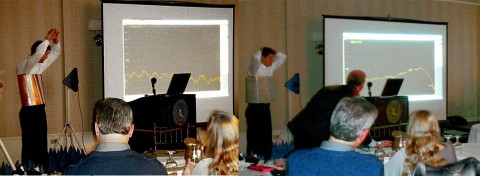 INVISIBILITY VEST Fractal Antenna Systems with first public demonstration of person-invisibility, for Radio Club of America audience in 2012. LEFT: blocked microwaves with little intensity. RIGHT: restored intensity by invisibility cloak as body garment.  Microwaves deflect around the person to the other side. New patent 9,847,583 awards such cloak-oriented applications to Fractal Antenna Systems,  Inc. (Graphic: Business Wire)