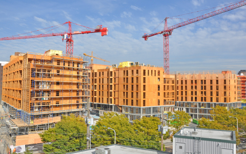 WoodWorks provides education and free project support to architects, engineers and others designing commercial and multi-family wood buildings. Credit: Ankrom Moisan Architects, WG Clark Construction