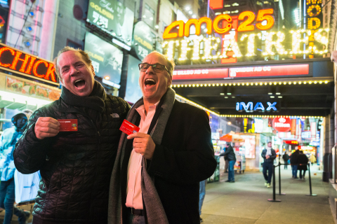 Mitch Lowe and Ted Farnsworth celebrate their momentous achievement with MoviePass in New York City (Photo:Drew Osumi)
