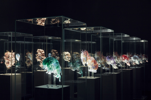 Installation view of Neri Oxman Vespers, Series 1 - 3, masks 1 - 5 2016 on display in NGV Triennial  ...