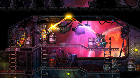 "Prepare to command robot pirates in epic tactical shootouts. SteamWorld: Heist is a turn-based strategy game with an action twist: By manually aiming your weapons you'll pull off insane bullet-bouncing trick shots. The Ultimate Edition includes ""The Outsider"" campaign, which features a mysterious ally and a shipload of new weapons, upgrades, hats and missions. (Graphic: Business Wire)"