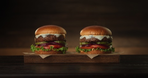 The Beyond Meat Burger, shown here with the Really Good Cheeseburger, looks and satisfies just like  ...