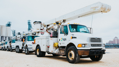 APS trucks and equipment arrive in Lake Charles, La., as 50 APS employees prepare to leave for Puerto Rico to assist with ongoing power restoration efforts on the island. Hundreds of thousands of customers remain without electricity after powerful hurricanes hit the island in September. (Photo: Business Wire)