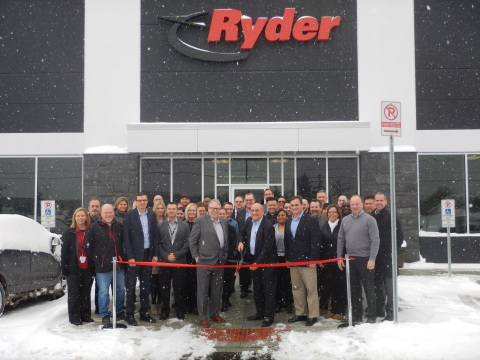 Ryder executives and customers at the London, ON facility's ribbon cutting ceremony. (Photo: Busines ...