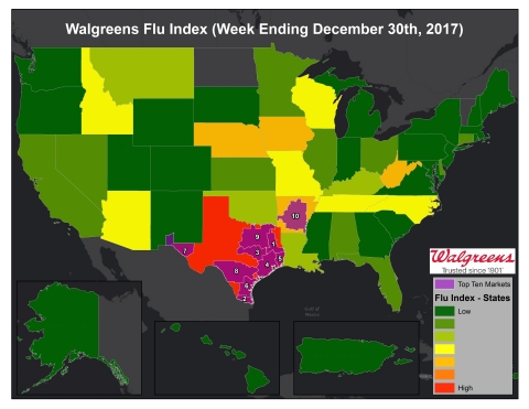 Walgreens Flu Index for the week ending December 30, 2017. (Graphic: Business Wire)