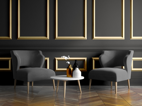 Interiors take on the look of dark glamour this year as consumers bravely select a colour palette of bold elegance, according to Dulux Paints colour experts. The leading brand named two Colours of the Year for 2018: Black Elegance (DLX1004-7), a statement-making black infused with an undertone of the deepest brown, and a beautiful metallic companion, Dulux Effects Finishes LIQUID METAL™ Golden Goose (015LM). (Photo: Business Wire)
