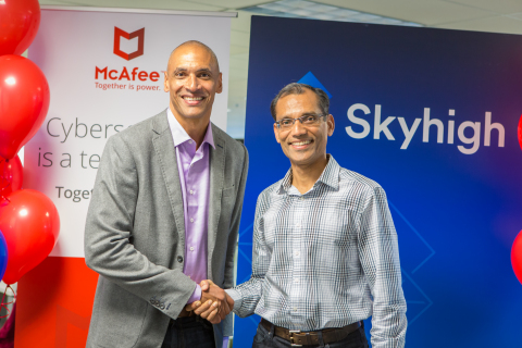 Chris Young, McAfee CEO (left) and Rajiv Gupta, Skyhigh Networks CEO (right) (Photo: Business Wire)