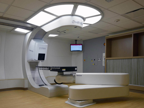 The MEVION S250i Proton Therapy System with HYPERSCAN Pencil Beam Scanning is shown here, fully inst ...