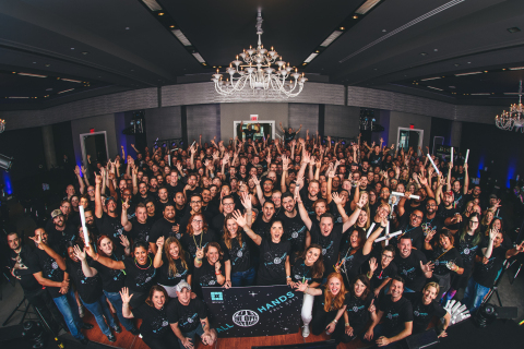 The WP Engine team celebrates at its most recent employee event. (Photo: Business Wire)