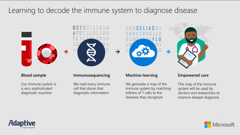 Adaptive Biotechnologies Announces Partnership with Microsoft to Decode the Human Immune System to Improve the Diagnosis of Disease. This infographic outlines the process for learning to decode the human immune system to diagnose disease. (Graphic: Business Wire)