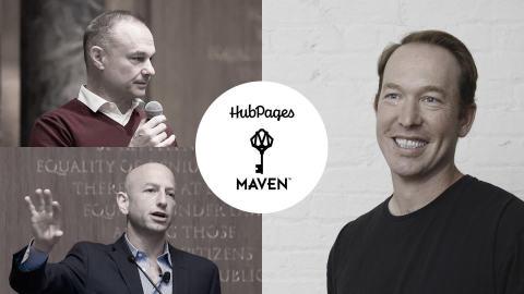 Maven CEO James Heckman (top left); HubPages CEO Paul Edmondson (right); and Maven executive co-chair Josh Jacobs (bottom left). (Graphic: Business Wire)