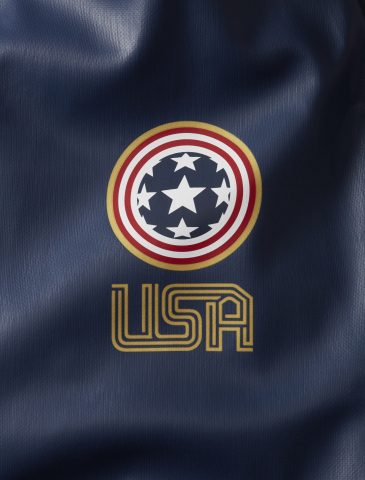 USA stylized country graphic on Columbia's 2018 Winter Olympic Moguls Jacket. (Photo: Business Wire)