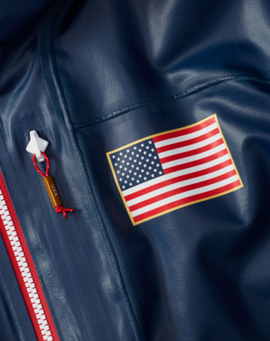 Close-up of Columbia's U.S. moguls freestyle ski team jacket. (Photo: Business Wire)