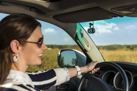 The new Garmin Speak Plus with Amazon Alexa adds a built-in dash cam. (Photo: Business Wire)