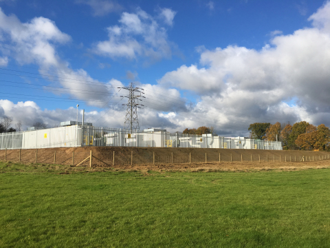 40MW energy storage system recently commissioned by NEC Energy Solutions in Glassenbury, UK for VLC Energy (Photo: Business Wire)