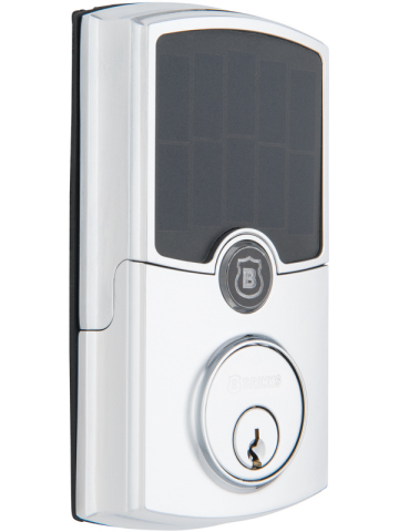 The Brinks Home Security ARRAY smart deadbolt, shown in Barrington style with polished chrome finish ...