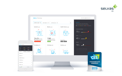"""SELVAS AI will exhibit """"Selvy Checkup,"""" the world's first AI disease prediction service, at CES 2018. """"Selvy Checkup"""" is a deep learning based medical service that predicts the probabilities of incidence within four years for six most common cancers and major adult diseases. (Graphic: Business Wire)"""
