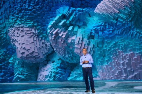 Brian Krzanich, Intel Corporation chief executive officer, offers a presentation during a rehearsal for the opening keynote at the 2018 Consumer Electronics Show (CES) on Monday, Jan. 8, 2018, in Las Vegas. Intel displays how the power of data is affecting our daily lives at the event, which runs Jan. 9-12. (Credit: Walden Kirsch/Intel Corporation)
