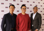 (left to right) Adam Zheng, cofounder and COO of ObEN; Adrian Cheng, founder of K11; Nikhil Jain, cofounder and CEO of ObEN (Photo: Business Wire)