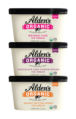 Three new flavors from Alden's Organic: Organic Birthday Cake, Organic Chocolate Chip Cookie Dough and Organic Peanut Butter Fudge. (Photo: Business Wire)