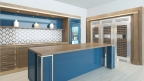 Influential interior designer and True's Brand Ambassador Vanessa Deleon designed this stunning kitchen vignette to include True's 48-inch Refrigerator and 30-inch Glass Door Refrigerator rendered in a rich cobalt blue finish and paired with gold hardware. (Photo: Business Wire)