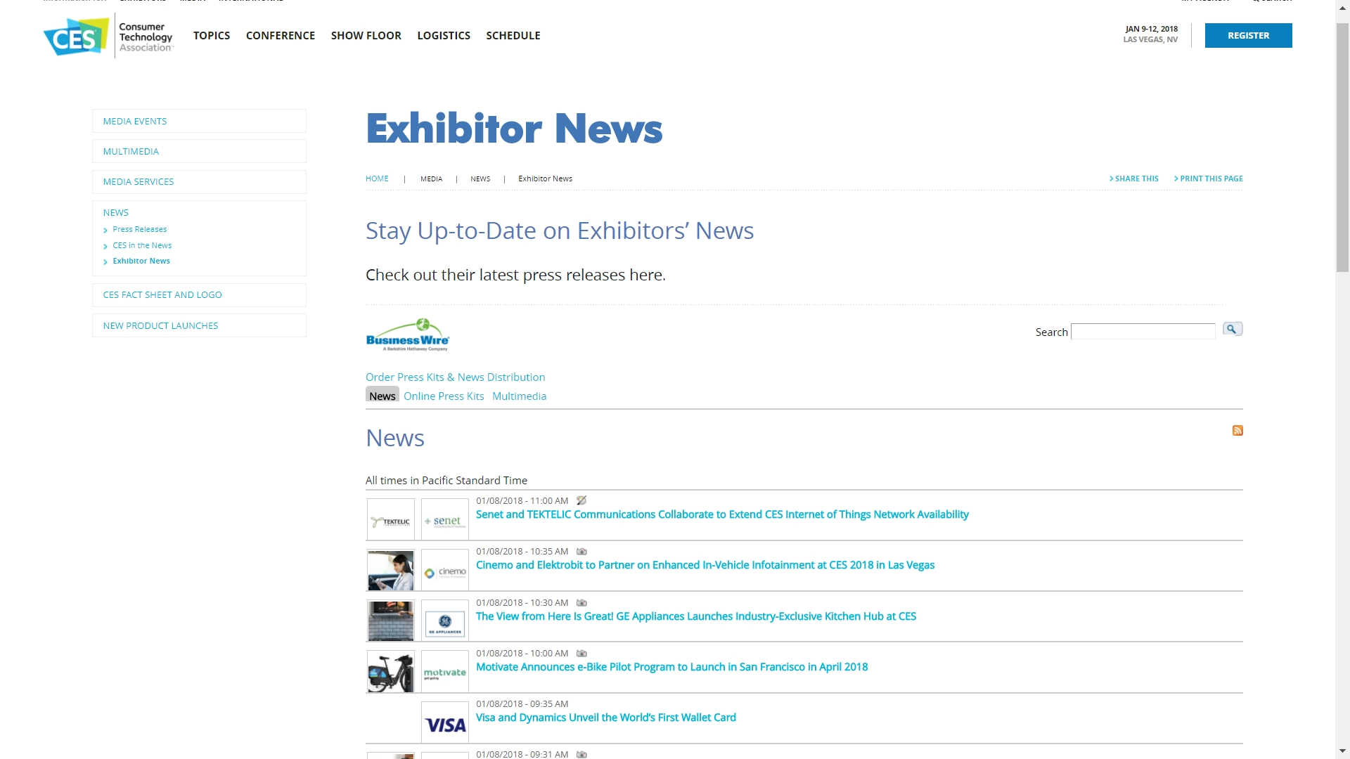 CES 2018 Exhibitor News and Digital Media Available | Business Wire