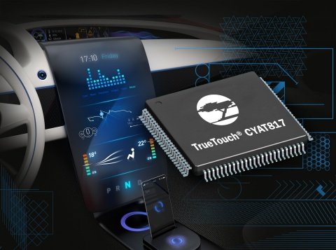 Pictured is Cypress Semiconductor's new TrueTouch automotive capacitive touchscreen controller that  ...