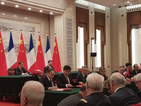 Sigfox CEO Ludovic Le Moan, French President Emmanuel Macron and Chinese President Xi Jinping (Photo ...