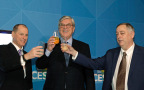 Gary Shapiro (left), President and CEO of the Consumer Technology Association, Sen. Gordon Smith (center), President and CEO of the National Association of Broadcasters, and ATSC President Mark Richer (right) celebrate the approval of the ATSC 3.0 Next Gen TV Standards at CES 2018 in Las Vegas. (Photo: Business Wire)