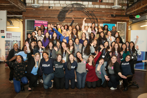 "JetBlue's ""Even More Girls – In Tech"" event, took place at the Impact Hub in Oakland, Calif. Nearly 50 girls, ages 12-15, learned leadership skills directly from JetBlue senior leaders, Girls in Tech CEO and Founder Adriana Gascoigne and Oscar® nominee Ava DuVernay, director of Disney's upcoming epic adventure, ""A Wrinkle in Time."" (Photo: Business Wire)"
