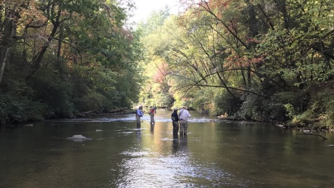 President Jimmy Carter and winners from last year's contest fly fishing in Georgia (Photo: Business Wire)