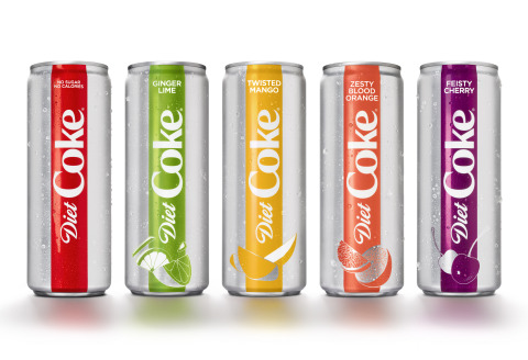 After 35 years, Diet Coke is relaunching in North America with a full brand restage, including a sleek new look, modern design, new campaign and the addition of four bold, new flavors to the Diet Coke family: Diet Coke Ginger Lime, Diet Coke Feisty Cherry, Diet Coke Twisted Mango and Diet Coke Zesty Blood Orange. The new packaging and flavors will hit store shelves beginning in mid-January. (Photo: Business Wire)