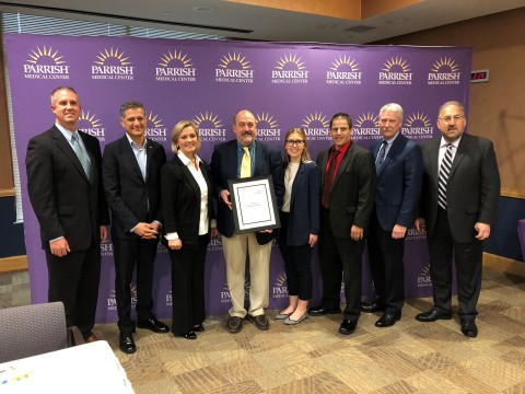 Patient Safety Movement Foundation founder Joe Kiani (second from left) awards Parrish Medical Center Executive Team with the first five-star hospital rating for patient safety at a ceremony on Wednesday. (Photo: Business Wire)