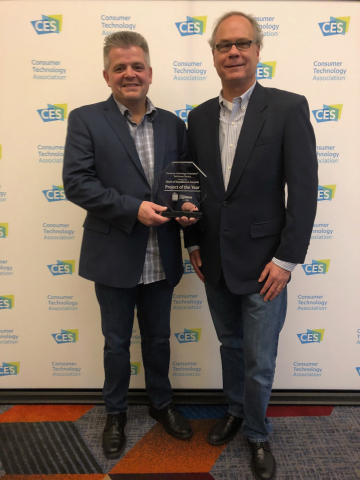 From the left, Paul Wiliams, Vice President of Product Management, and Martin Plaehn, Chairman and CEO, of Control4 accept the Consumer Technology Association TechHome Mark of Excellence Automation Product of the Year award. (Photo: Business Wire)