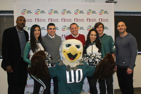 Eagles mascot SWOOP and other members of the Eagles organization visit Lincoln Financial Group's Rad ...