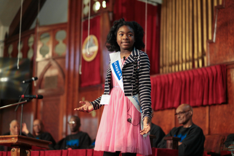 Tchanori Kone, a fifth-grade student from Gregory-Lincoln Elementary, won first place in the 22nd An ...