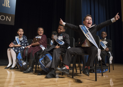 """Wesley Stoker, a fourth-grade student from Harry C. Withers Elementary School in Dallas, was ecstatic to learn he won first place in the 26th Annual Gardere MLK Jr. Oratory Competition. His speech incorporated his own dreams, routed in Dr. King's philosophies. """"I wish we would all be friends with our neighbors and see that we have more in common than we think,"""" exclaimed Wesley, who emphasized each point in his speech by repeating, """"I may not look like Dr. King, but I believe like Dr. King."""" (Photo credit: Rex Curry)"""