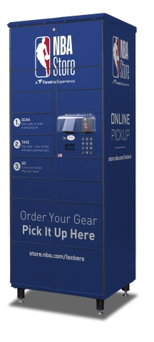 NBA Store customers at https://store.nba.com/lockers can collect their online purchase from a self-serve locker inside New York City's NBA store (545 Fifth Avenue at 45th Street) without waiting in line. Using Apex AnyWhere™ lockers to automate BOPIS, also known as click and collect, gives customers a faster, more streamlined order pick-up experience. (Photo: Business Wire)